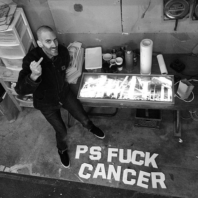 People of Portland! Please go support Chris Brunkhart at @nemodesign tonight for their art auction to raise money to help Chris fight cancer. If you dont know Chris, he is a legendary photographer that helped set a standard for how we visually see snowboarding. Check out @psfuckcancer for more info. 7pm tonight people! Be there! #helpbrunkhart @28f2