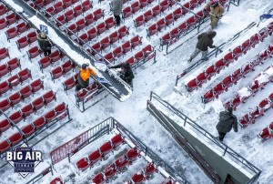 Workers removing snow